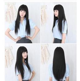 $enCountryForm.capitalKeyWord Australia - Stock Women Black Wig Cosplay Long Straight Hair Full Natural Looking Wigs