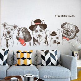 Cartoon Nature Australia - cartoon animal dog Wall Sticker Removable Double Sided Visual Pattern Home Decoration House Wallpaper free shipping wn639