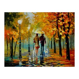 "European Style Room Oil Paint Australia - 30""*40""Hand-painted canvas oil painting sitting room scenery and romantic european-style hang a picture to the walking on the street"