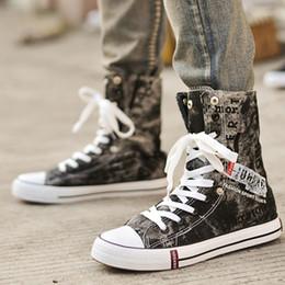 $enCountryForm.capitalKeyWord Australia - Breathable Men Sneakers Size 37-46 Fashion Mens Shoes Casual High Quality Black Denim Canvas Shoes Men High Top Sneakers Oxfords