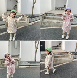 Kid dresses Korea online shopping - 2019 Korea Style Girls Dots Flee Dress Fashion Autumn Winter Thicken Baby Girl Clothes Girls Vest Dresses Kids Clothes Years