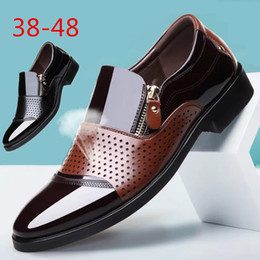 holed shoes Australia - Summer Men's Casual Leather Sandals Men's Hollow Hole Shoes Dress Business Breathable Large Size Single Shoes Sandals Shoes Men Size 38-48