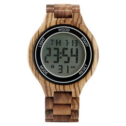 $enCountryForm.capitalKeyWord Australia - Natural Whole Wooden Electronic Watch for Men Practical Luminous Function Digital Watches for Male Casual Calendar Display Wood Wristwatch