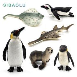 Simulazione in miniatura Pesce di mare Pinguino Leone di mare Pesce Skate Sawfish animali modello fata artigianato figurine Acquario decorazioni per la casa giocattoli