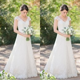 Lace Country Style Wedding Dresses Australia - Country Style Lace Wedding Dresses 2019 vestido de noiva A Line Cap Sleeve Open Back Bridal Gowns Handmade Custom Made