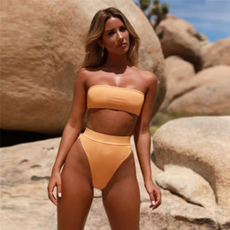 $enCountryForm.capitalKeyWord NZ - High Waist Bikini Set Sexy Women Strapless Padded Wire Free Breathable Swimsuit Summer Beach Bathing Elastic Swimming Suit DS0491-1 T03