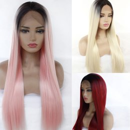 Discount straight blonde wig roots - Cheap wig synthetic lace fronta wigs ombre 1B red burgundy wig blck root blonde pink synthetic wig simulation human hair