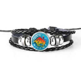 $enCountryForm.capitalKeyWord NZ - 12 Horoscope Zodiac Taurus Time Gem Glass Cabochon Charm Bracelets For Women Men Fashion Black Leather Rope Beaded Wrap Jewelry Summer Gift