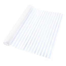 Wall Sticker Films UK - Removable Window Bathroom Showcase Film Cover Wallpaper Decor - White Stripe Pattern