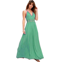 elegant night green dresses NZ - beach dress for women green deep v neck lace trim hollow out summer long elegant unique holiday clothing spaghetti strap dresses