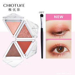 professional eyeshadow palettes 2019 - CHIOTURE 4 Colors Eyeshadow Palette Makeup Cosmetics Glitter Metallic Nude Green Orange Soft Professional Mini Shadow Ki