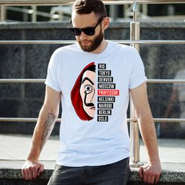 t shirts money printed Canada - New Arrivals Men T Shirt Movie Money Heist The House of Paper La Casa De Papel basic Printed T Shirt Funny Tees Summer clothing