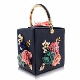 pearl red box 2019 - Women Handbags Floral Pearl Square Box Luxury Bag Leather Green Black Blue Evening Bag Wedding Bride Purse Ladies Small