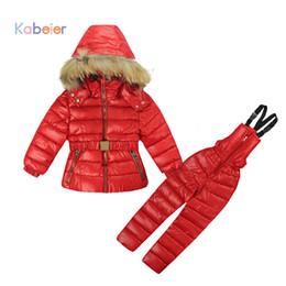 $enCountryForm.capitalKeyWord Australia - Russian Winter Girls Clothing Sets For Children Polyester Jumpsuit Snow Jackets + Bib Pant 2pcs Set Coats Jacket With Fur Hood