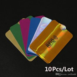 card protector sleeves wholesale Australia - 10 pcs Anti-Scan Card Sleeve Credit RFID Card Protector Anti-magnetic Aluminum Foil Portable Bank Card Holder 7 Colors Free shipping