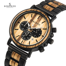 modern mans watch box NZ - BOBO BIRD Wooden Watch Men erkek kol saati Luxury Stylish Wood Timepieces Chronograph Military Quartz Watches in Wood Gift Box SH190929