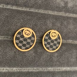 HigH rise band online shopping - 2019 new deluxe brand High quality gold silver rose black letter round Stud earrings For Men Women girls factory summer jewelry