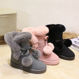 $enCountryForm.capitalKeyWord Australia - Female Short Tube 2019 Winter New Snow Boots Non-slip Warm Flat With Bow Tie Bandage Hair Ball Cute Thick Student Boots Size 35-41