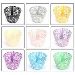 $enCountryForm.capitalKeyWord Australia - 50Pcs Cupcake Wrappers Filigree Vine Lace Cup Wrap Liners Wedding Party Decor