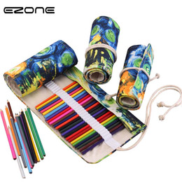 roll ups stationery Australia - EZONE 36 48 72 Holes Van Gogh Painting Pencil Case Stationery Canvas Pen Roll Up Bag Art Curtain Storage Pencil Bag Papelaria