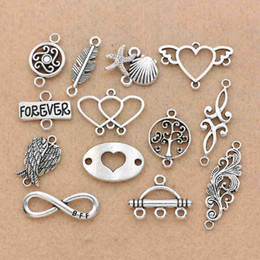 $enCountryForm.capitalKeyWord Australia - ibetan Silver Plated Angel Wings Infinity Heart Connector for Bracelet Necklace Jewelry Making Accessories DIY Craft Findings Tibetan Si...