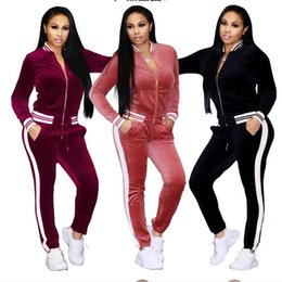 Pink Clothing Women UK - European and American explosions gold diamond velvet sports suit home clothes