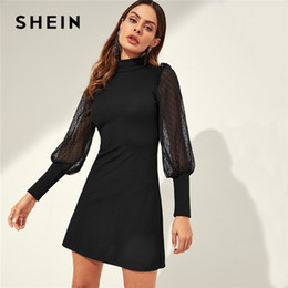 9048a11005 Ribbed dRess online shopping - SHEIN Black Mesh Sleeve Mock neck Frill  Shoulder Keyhole Back Ribbed