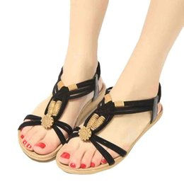 Bohemia Beaded flat online shopping - Fashion Summer Roman sandals Women Casual Bohemia Sweet Beaded Sandals Clip Toe Beach Shoes Ladies Flip Flops Footwear