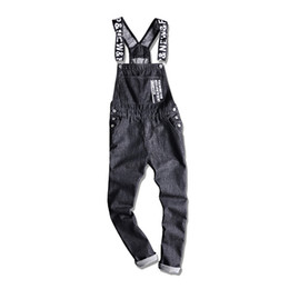 fitted jumpsuits Australia - New Men's Letters Printed Black Denim Bib Overalls Fashion Slim Fit Jumpsuits Plus Size S-5XL Jeans Pants