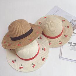 3fe5d831a48c6 Summer Fashion cherry Kids Hats girls Straw Hat large baby Sun Hat Boutique  princess Bucket Hat Children Caps beach hats A4950