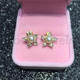 $enCountryForm.capitalKeyWord Australia - 925 Silver Material Freshwater Pearl Earring Zircon White Round Steamed Bread Pearl Gold Star Stud Earrings Women Jewelry Gift Free Shipping