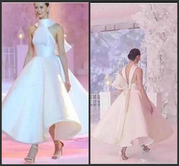 Wholesale runway design dress for sale - Group buy 2019 New Latest Design White Runway Evening Dresses Spring High Neck Satin A Line Prom Gowns Sexy Backless Formal Fashion Party Dresses