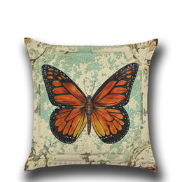 Chinese  Printed Cushion Cover 45*45cm Cotton Linen Throw Pillow Case Color Butterfly Print Home Decor Sofa Bed Cushion Covers manufacturers