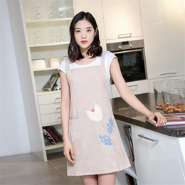cute aprons Australia - Waterproof And Dustproof Apron Home Fashion Apron For Women Cute Print Unisex Kitchen Accessories 2019 Hot Selling