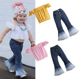 Discount one piece spring suit kids Baby Girls Denim Suits Kids Solid One Shoulder Elastic Vest Tops Infant Baby Newborn Girl Casual Clothes Denim Flare Pan