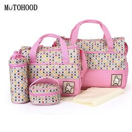 14179747f1 MOTOHOOD 5pcs Baby Diaper Bag Suits For Mom Baby Changing Bags Organizer  Maternity Nappy Bags Sets Dot Tote Bag 40*30*14CM