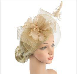 $enCountryForm.capitalKeyWord Australia - European and American bride's wedding headdress fashion feather flower banquet party hat mesh Hairband