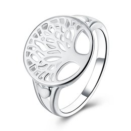 China Hot Sale Finger Ring Bijoux 925 Stamped Silver plated Round Tree of Life Ring Wedding Jewelry For Women Party Gifts Wholesale supplier jewelry trees for sale suppliers