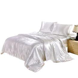 Chinese  Pure Satin Silk Bedding Set Home Textile Plain Milk Silky Duvet Quilt Cover Flat Sheet Pillowcase Bedlinen Luxury Comforter Set 3PCS Set manufacturers