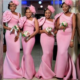 Wholesale long reds bridesmaids dress for sale – plus size African Pink Mermaid Bridesmaid Dresses Shoulder Straps With Big Flower Long Maid of Honor Wedding Guest Evening Gowns Plus Size