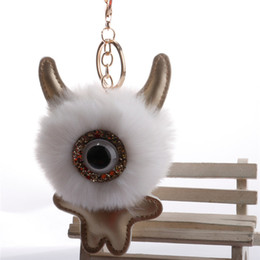 Artificial Chains Wholesalers Australia - 8cm Fluffy Monster Keychain Artificial Rabbit Key Chain Pompom Women Bunny Fur Bag Charms Keyrings Key Holder Pom Pom Car Pendant Key Ring