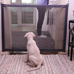 Products Safety Australia - Dog Portable Folding Protection Safety Products Mesh Magic Pet Gate For Dogs Safe Guard Children Baby Fence Q190530