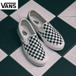 82236702f8c8 Cheap Vans Old Skool slip-on classic Men Women Canvas Sneakers CHECKERBOARD  Black White YACHT CLUB MARSHMALLOW Skateboard Casual Shoes