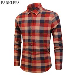 Discount scotland top - Classic Scotland Style Plaid Shirt Men Fashion Contrast Color Mens Red Dress Shirts Casual Long Sleeve Cotton Camisas Ho