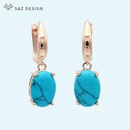 Vintage Copper Earrings Dangle Australia - S&Z New Classic Oval Egg Shape Synthetic Turquoises Dangle Earrings Vintage 585 Rose Gold For Women Girl's Trendy Party Jewelry