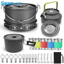 outdoors cookware Australia - 35pcs Camping Cookware Mess Kit, Large Size Pot Pan Kettle with 5 Cups, 5 Dishes, Fork Knife Spoon Kit for Backpacking, Outdoor Camping