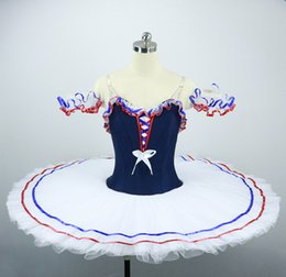 blue red tutus NZ - Flames Of Paris Professional Ballet Tutu Costume Navy Blue White Red Ballet Tutu Colombina Competition Custom Made Tutu JN038