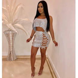 f144ce1909679 Women Sequins Two Piece Set Dress Spaghetti Straps Irregular Loose Crop Top  + Grommet Lace Up Bodycon Mini Skirt Outfits Party Nightclub
