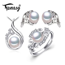 $enCountryForm.capitalKeyWord Australia - Fenasy 925 Sterling Silver Earrings With Stones,natural Pearl Jewelry Sets For Women,bohemian Set Stud Earrings Party Rings J190628