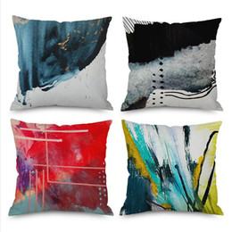 painted art chairs Australia - Nordic Style Personalized Geometric Graffiti Decorative Sofa Throw Pillows Ink Painting Abstract Art Chair Cushion For Office